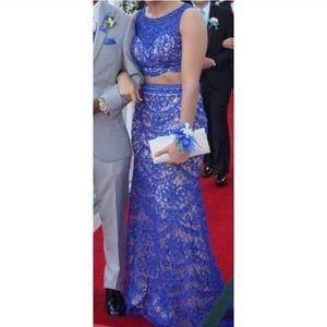 Bicici & Coty 2 piece blue/tan beaded dress size M